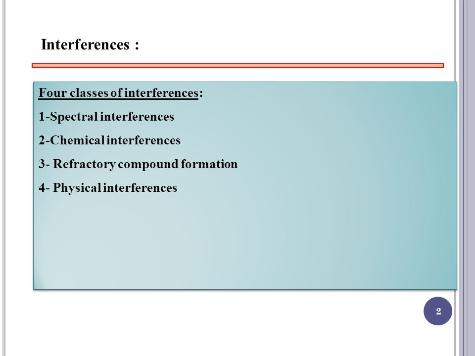 2 Interferences : Four classes of interferences: 1-Spectral interferences 2-Chemical interferences 3- Refractory compound formation 4- Physical interferences Four classes of interferences: 1-Spectral interferences 2-Chemical interferences 3- Refractory compound formation 4- Physical interferences