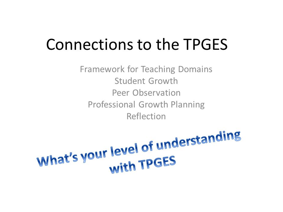 Connections to the TPGES Framework for Teaching Domains Student Growth Peer Observation Professional Growth Planning Reflection