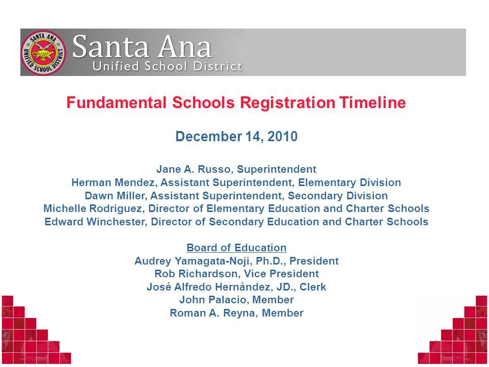 Fundamental Schools Registration Timeline December 14, 2010