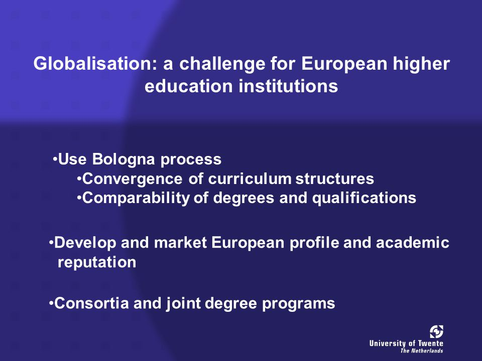 Globalisation: a challenge for European higher education institutions Use Bologna process Convergence of curriculum structures Comparability of degrees and qualifications Develop and market European profile and academic reputation Consortia and joint degree programs
