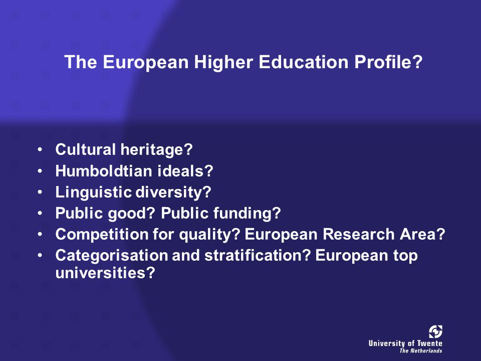 The European Higher Education Profile. Cultural heritage.