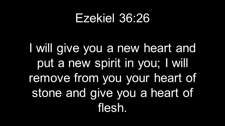 Ezekiel 36:26 I will give you a new heart and put a new spirit in you; I will remove from you your heart of stone and give you a heart of flesh.