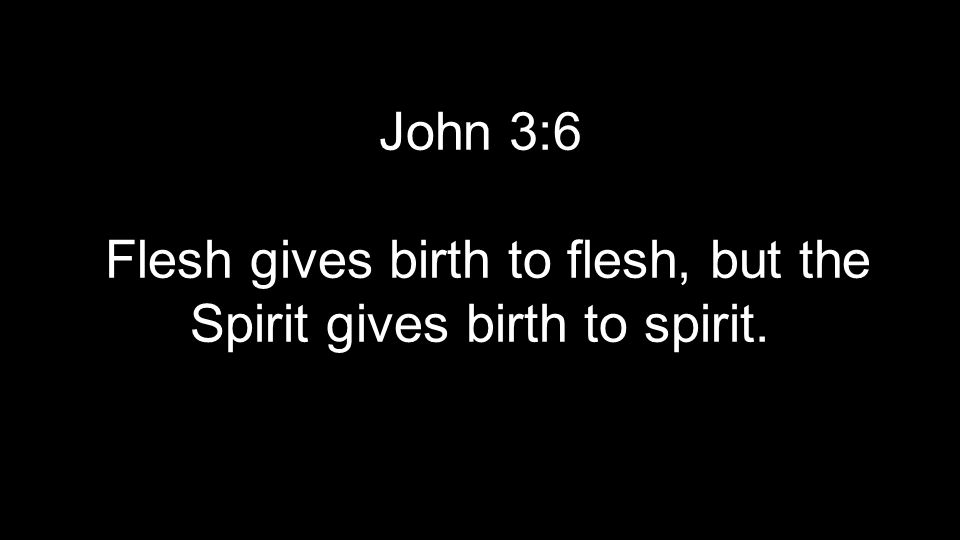 John 3:6 Flesh gives birth to flesh, but the Spirit gives birth to spirit.