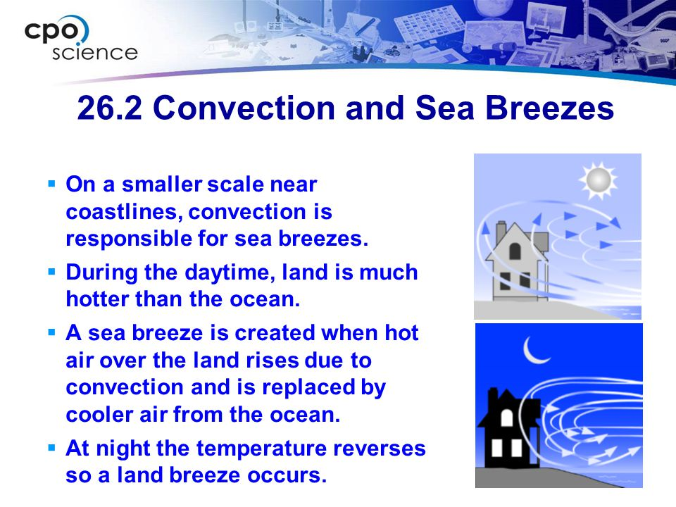 26.2 Convection and Sea Breezes  On a smaller scale near coastlines, convection is responsible for sea breezes.