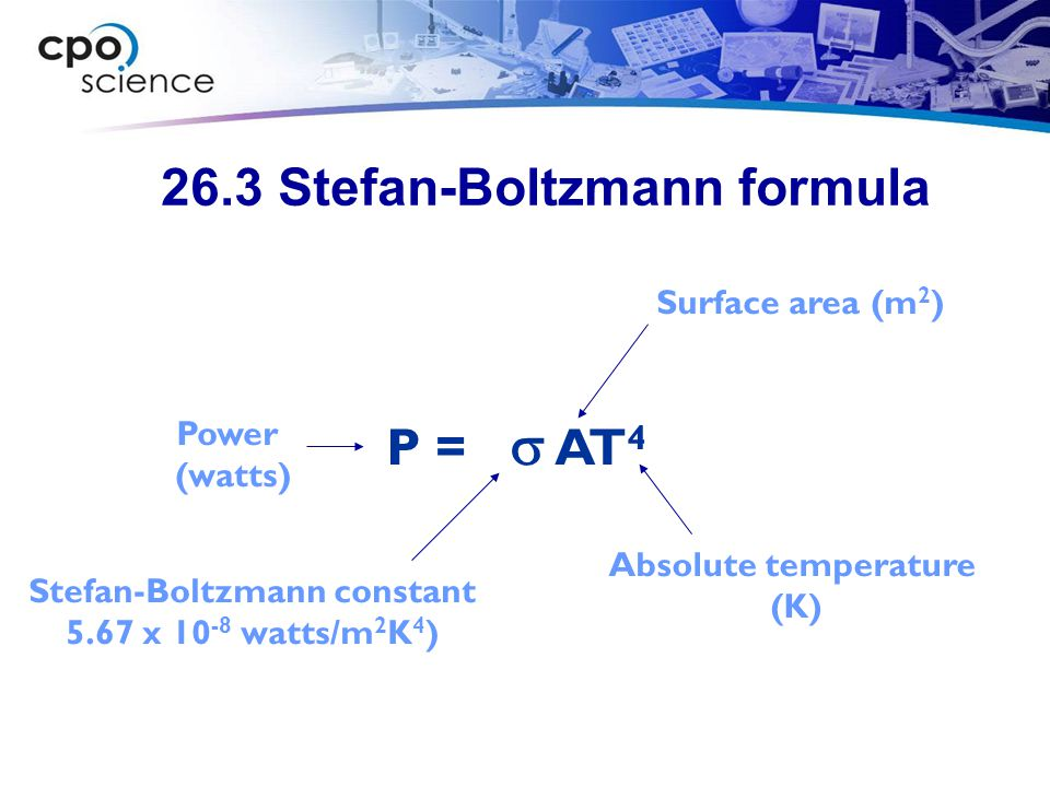 26.3 Stefan-Boltzmann formula P =  AT 4 Surface area (m 2 ) Stefan-Boltzmann constant 5.67 x watts/m 2 K 4 ) Power (watts) Absolute temperature (K)