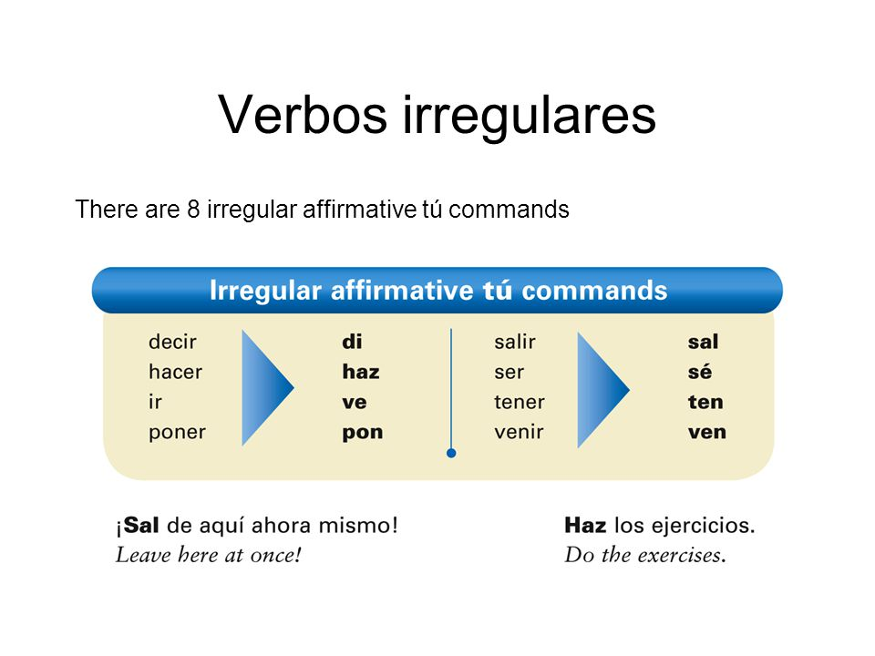 Verbos irregulares There are 8 irregular affirmative tú commands