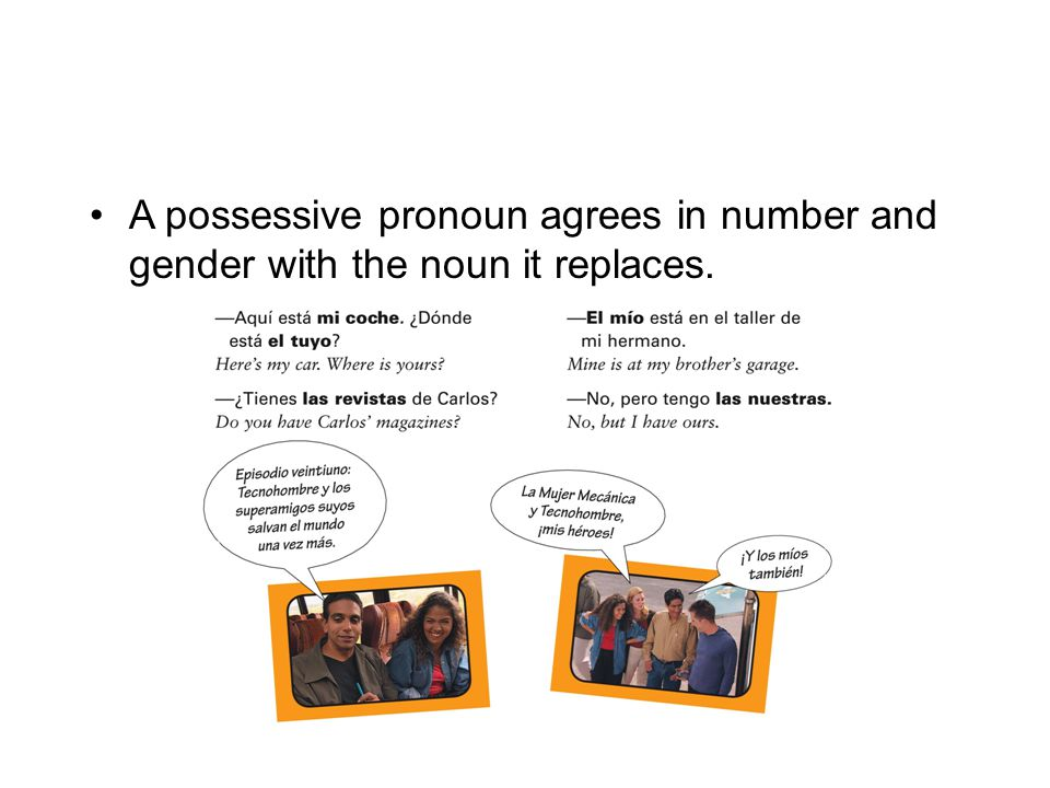A possessive pronoun agrees in number and gender with the noun it replaces.