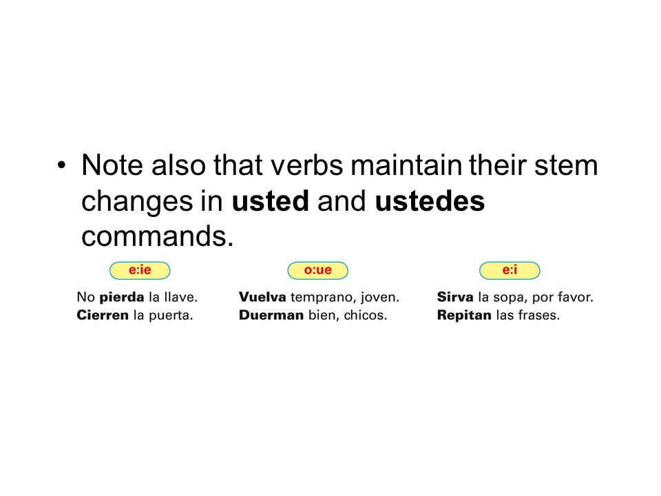 Note also that verbs maintain their stem changes in usted and ustedes commands.