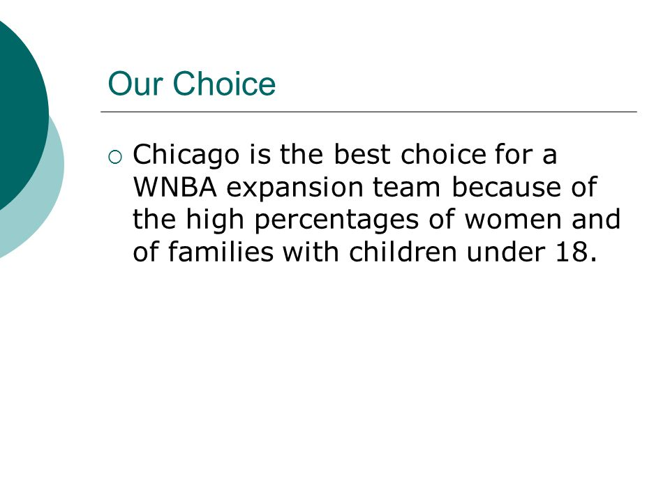 Our Choice  Chicago is the best choice for a WNBA expansion team because of the high percentages of women and of families with children under 18.