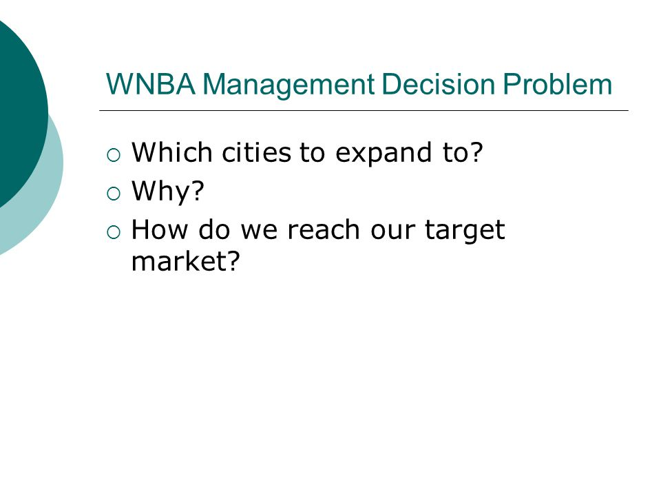 WNBA Management Decision Problem  Which cities to expand to.