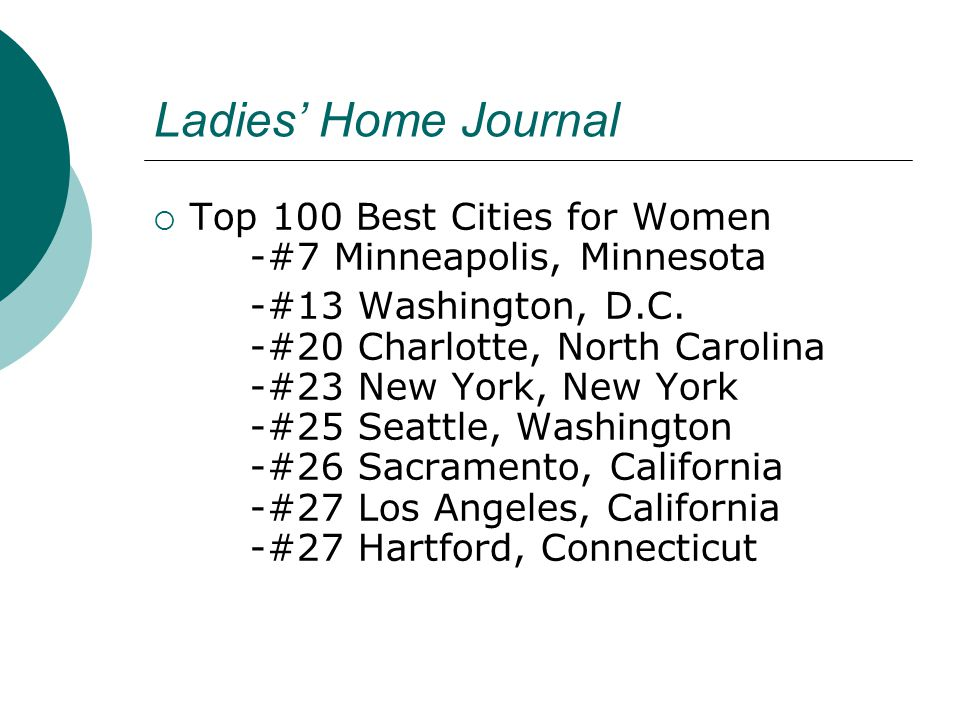 Ladies' Home Journal  Top 100 Best Cities for Women -#7 Minneapolis, Minnesota -#13 Washington, D.C.