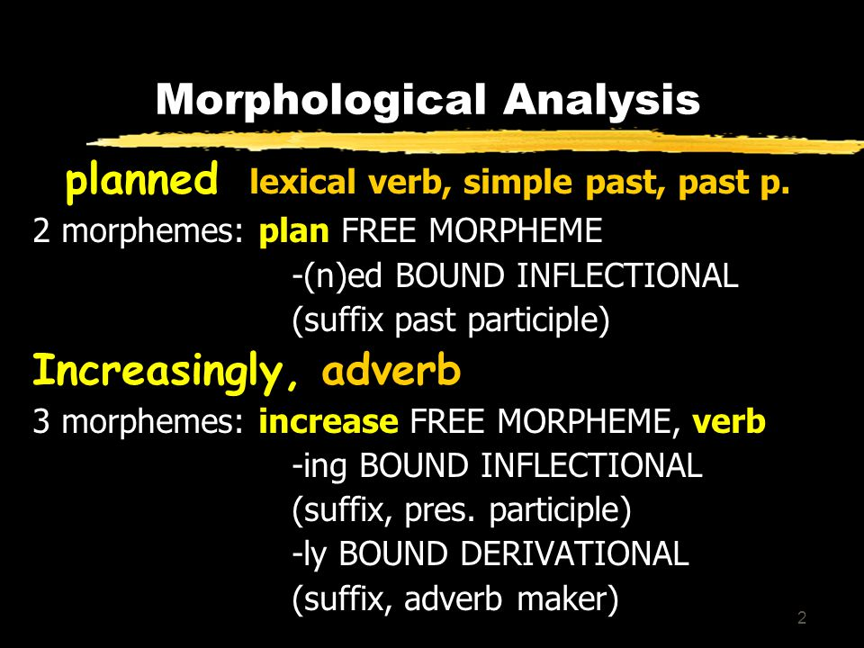 2 Morphological Analysis planned, lexical verb, simple past, past p.