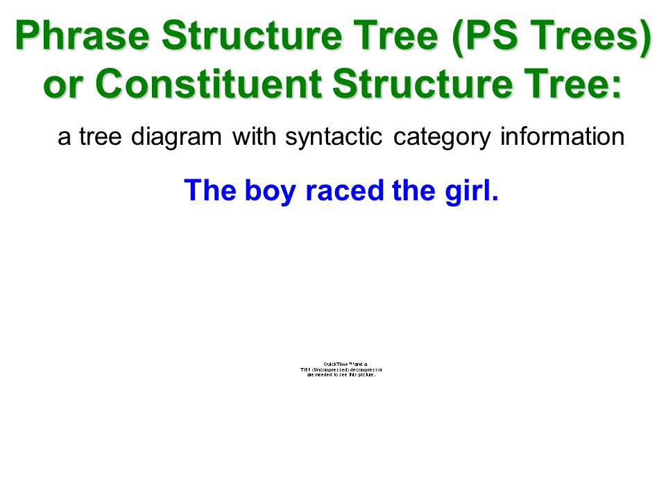 Phrase Structure Tree (PS Trees) or Constituent Structure Tree: a tree diagram with syntactic category information The boy raced the girl.