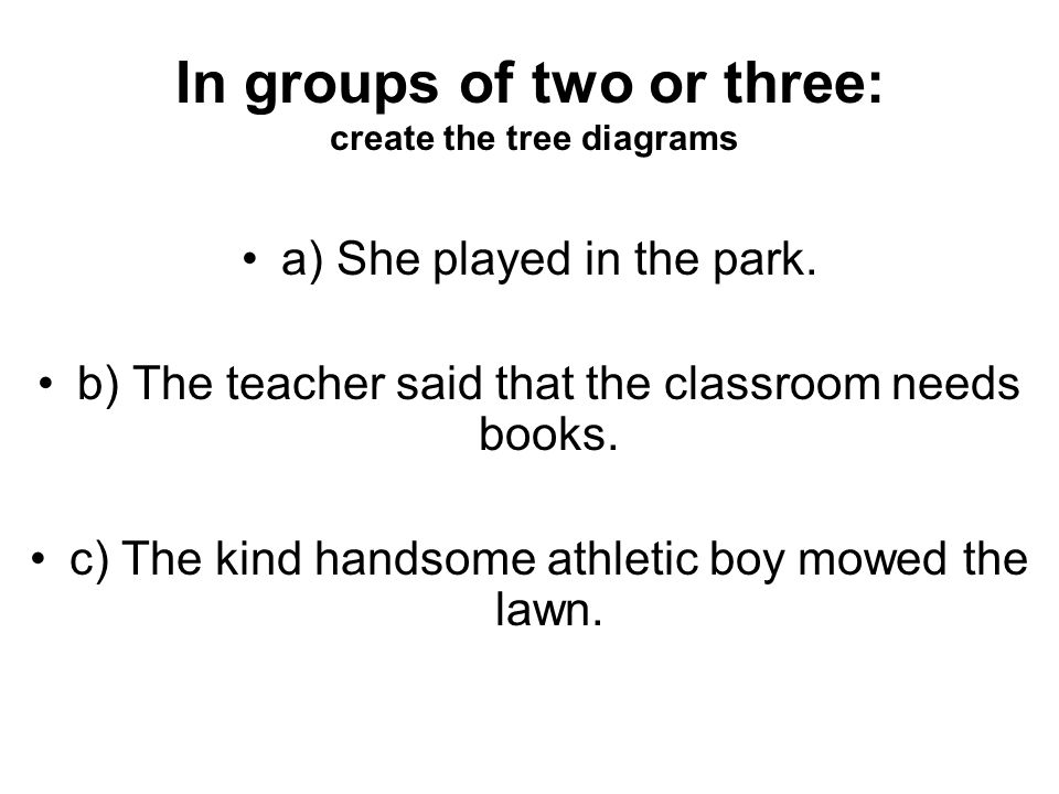 In groups of two or three: create the tree diagrams a) She played in the park.