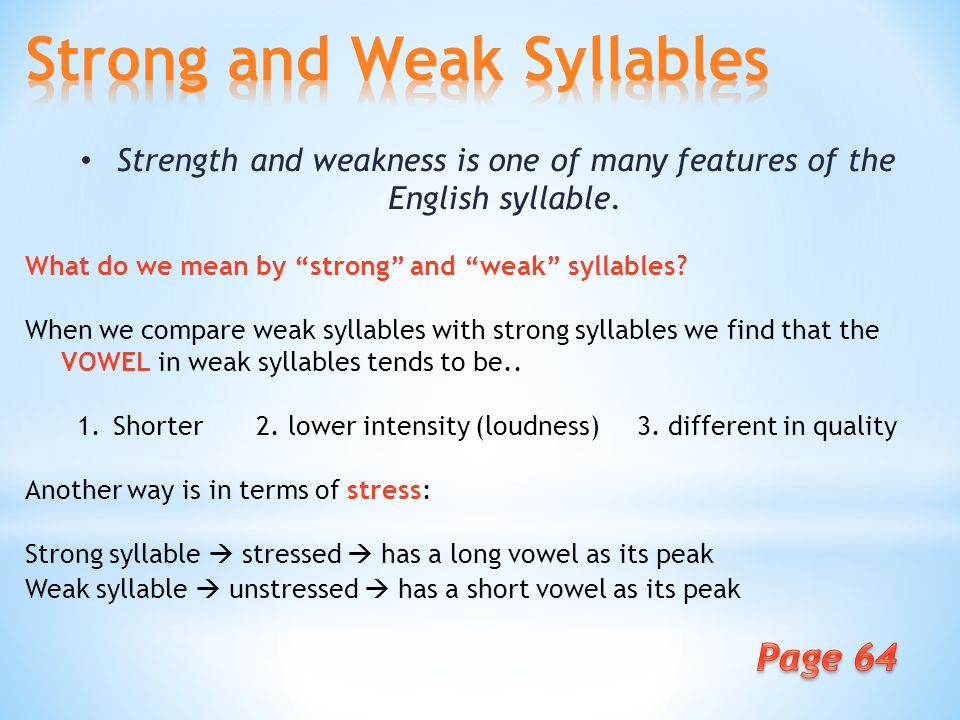 Week Strong And Weak Syllables A What Do We Mean By Strong And Weak