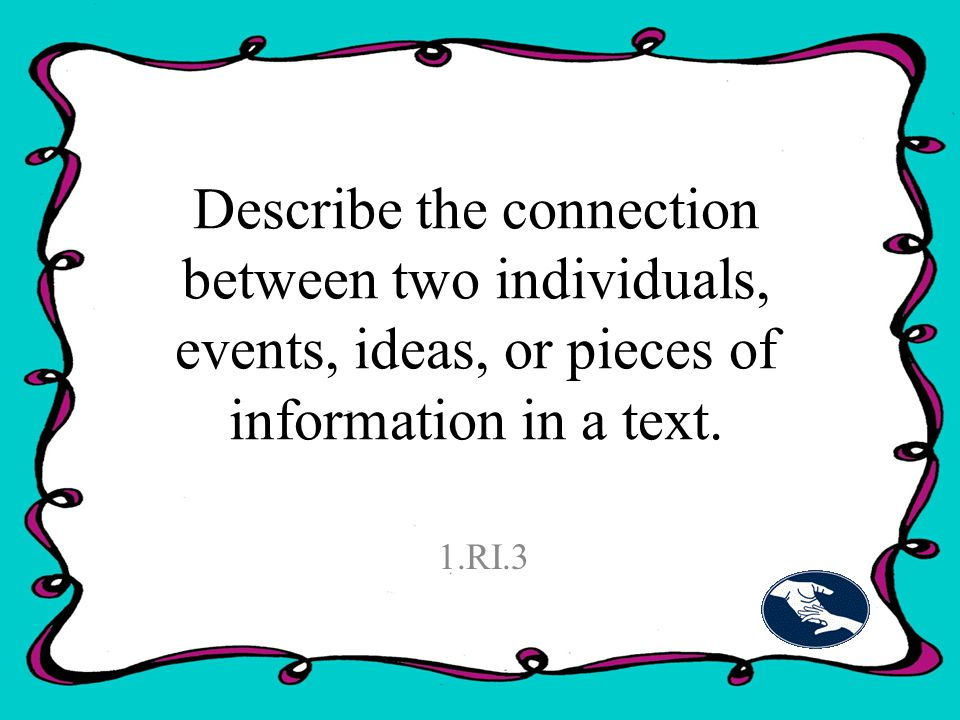 Describe the connection between two individuals, events, ideas, or pieces of information in a text.