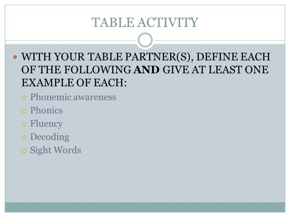 TABLE ACTIVITY WITH YOUR TABLE PARTNER(S), DEFINE EACH OF THE FOLLOWING AND GIVE AT LEAST ONE EXAMPLE OF EACH:  Phonemic awareness  Phonics  Fluency  Decoding  Sight Words