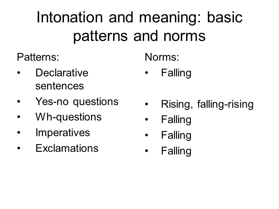Intonation and meaning: basic patterns and norms Patterns: Declarative sentences Yes-no questions Wh-questions Imperatives Exclamations Norms: Falling Rising, falling-rising Falling