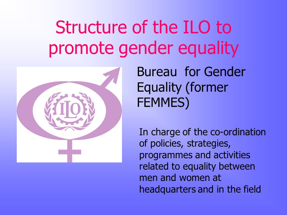 Structure of the ILO to promote gender equality Bureau for Gender Equality (former FEMMES) In charge of the co-ordination of policies, strategies, programmes and activities related to equality between men and women at headquarters and in the field