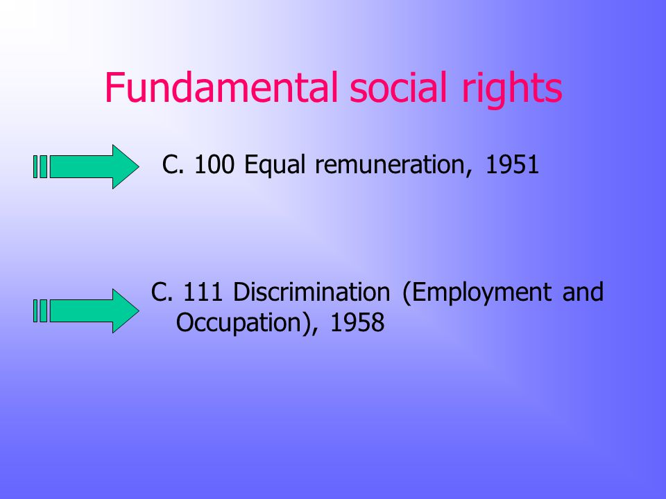 Fundamental social rights C. 100 Equal remuneration, 1951 C.