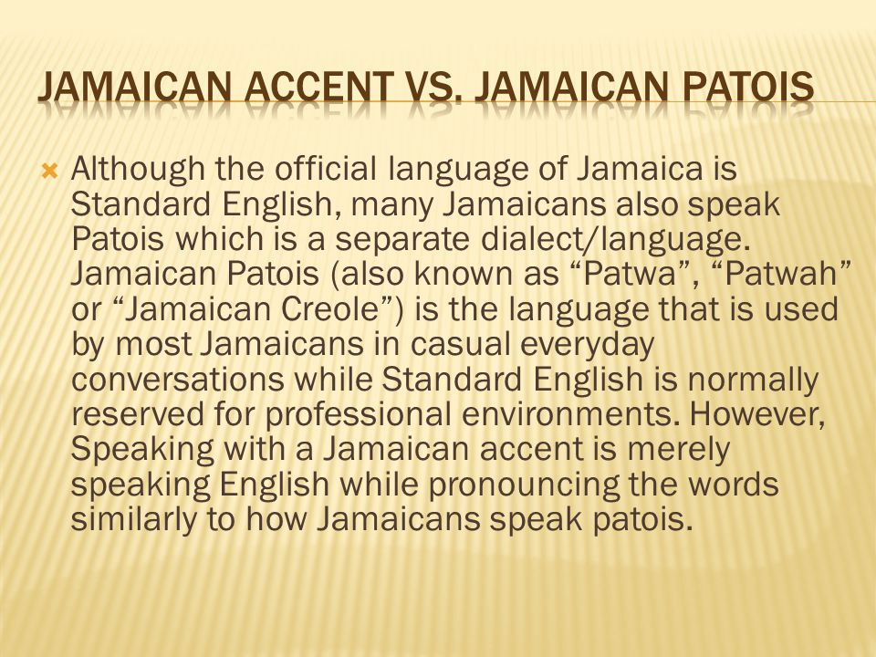 discussion on patois is not a language english language essay Patois is a local dialect spoken in caribbean cultures, from jamaica to rihanna's native barbados, including pidgins, creoles and other dialects in terms of rihanna's work, her patois takes on an even looser form, broken up with full english patois in popular music, essentially, is not new.