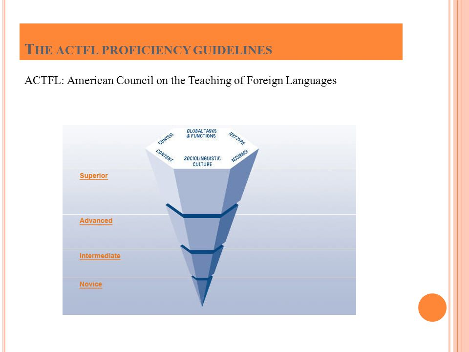 ACTFL: American Council on the Teaching of Foreign Languages T HE ACTFL PROFICIENCY GUIDELINES