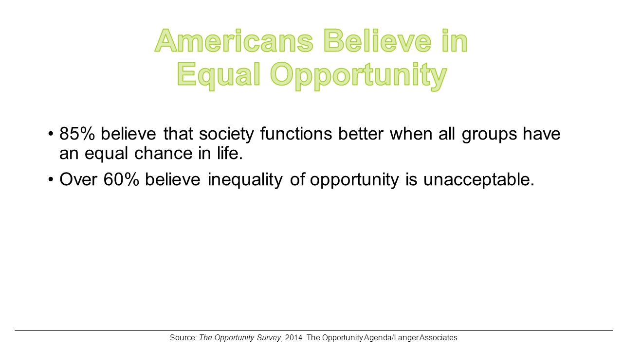 85% believe that society functions better when all groups have an equal chance in life.