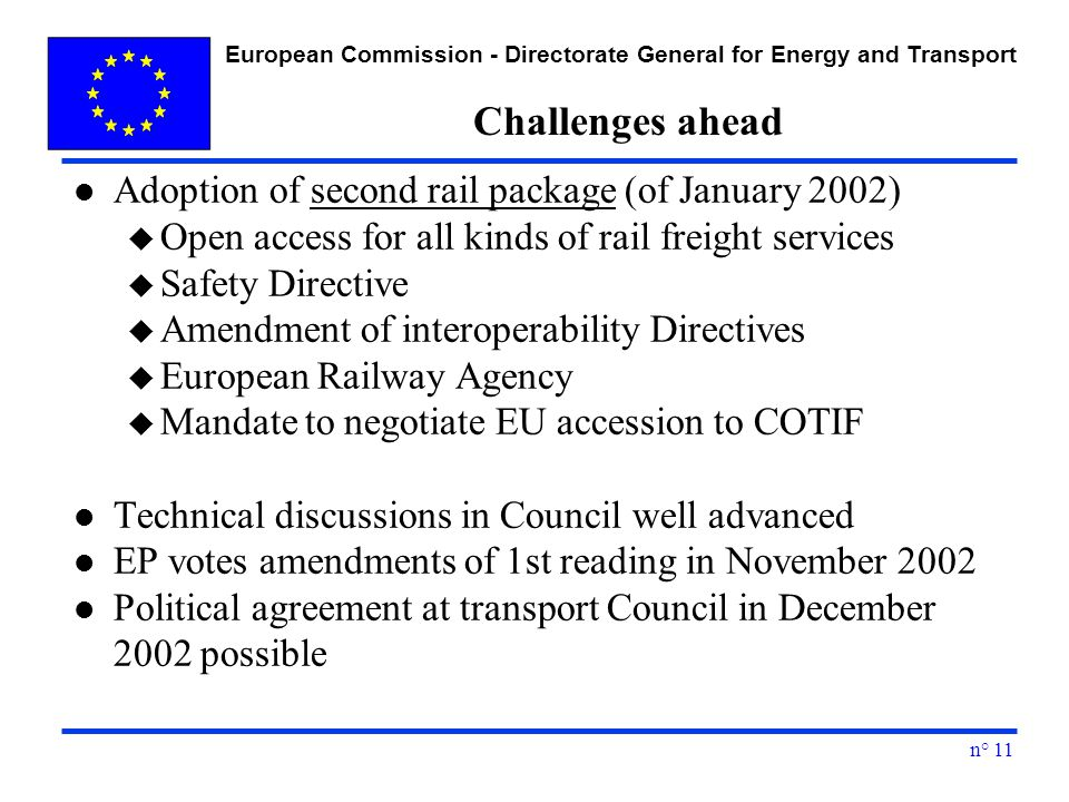 European Commission - Directorate General for Energy and Transport n° 11 Challenges ahead l Adoption of second rail package (of January 2002) u Open access for all kinds of rail freight services u Safety Directive u Amendment of interoperability Directives u European Railway Agency u Mandate to negotiate EU accession to COTIF l Technical discussions in Council well advanced l EP votes amendments of 1st reading in November 2002 l Political agreement at transport Council in December 2002 possible