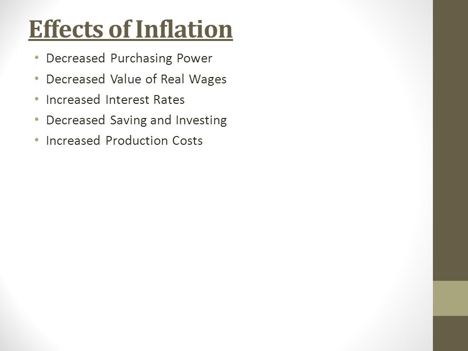 Effects of Inflation Decreased Purchasing Power Decreased Value of Real Wages Increased Interest Rates Decreased Saving and Investing Increased Production Costs