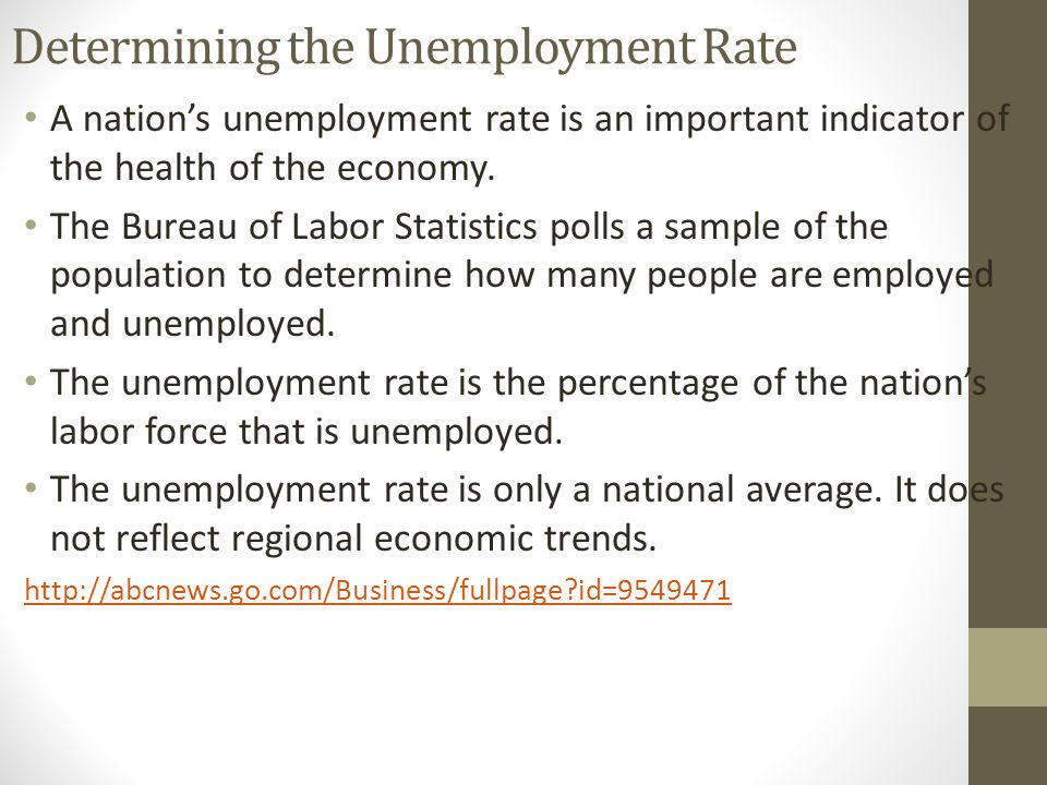 Determining the Unemployment Rate A nation's unemployment rate is an important indicator of the health of the economy.