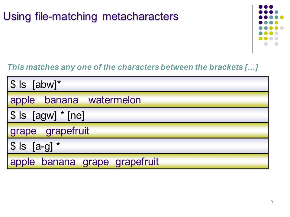 Using file-matching metacharacters Using file-matching metacharacters This matches any one of the characters between the brackets […] $ ls [abw]* apple banana watermelon $ ls [agw] * [ne] grape grapefruit $ ls [a-g] * apple banana grape grapefruit 5