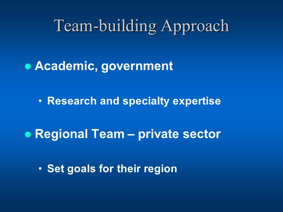 Team-building Approach Academic, government Research and specialty expertise Regional Team – private sector Set goals for their region