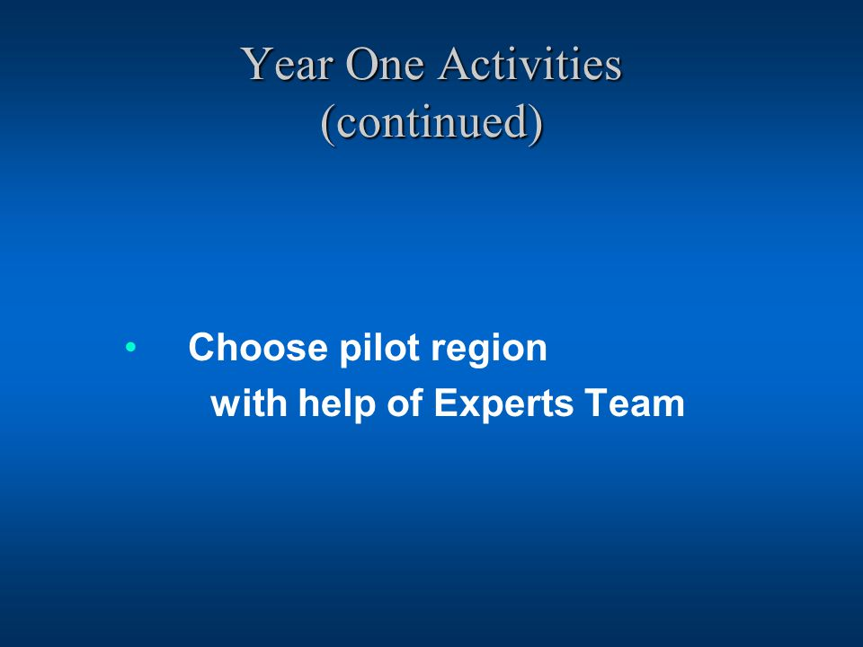Year One Activities (continued) Choose pilot region with help of Experts Team