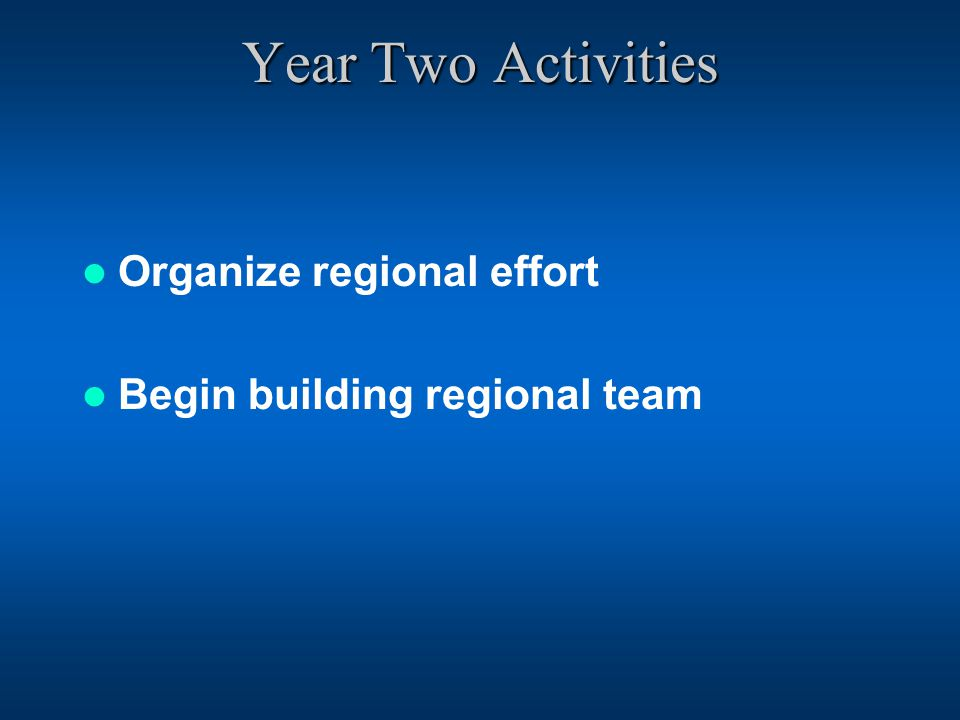 Year Two Activities Organize regional effort Begin building regional team