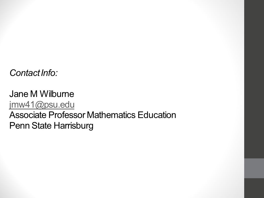 Contact Info: Jane M Wilburne Associate Professor Mathematics Education Penn State Harrisburg