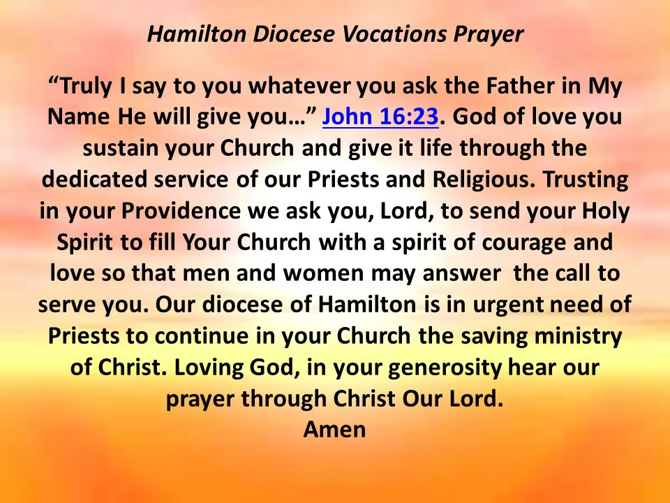 Hamilton Diocese Vocations Prayer Truly I say to you whatever you ask the Father in My Name He will give you… John 16:23.
