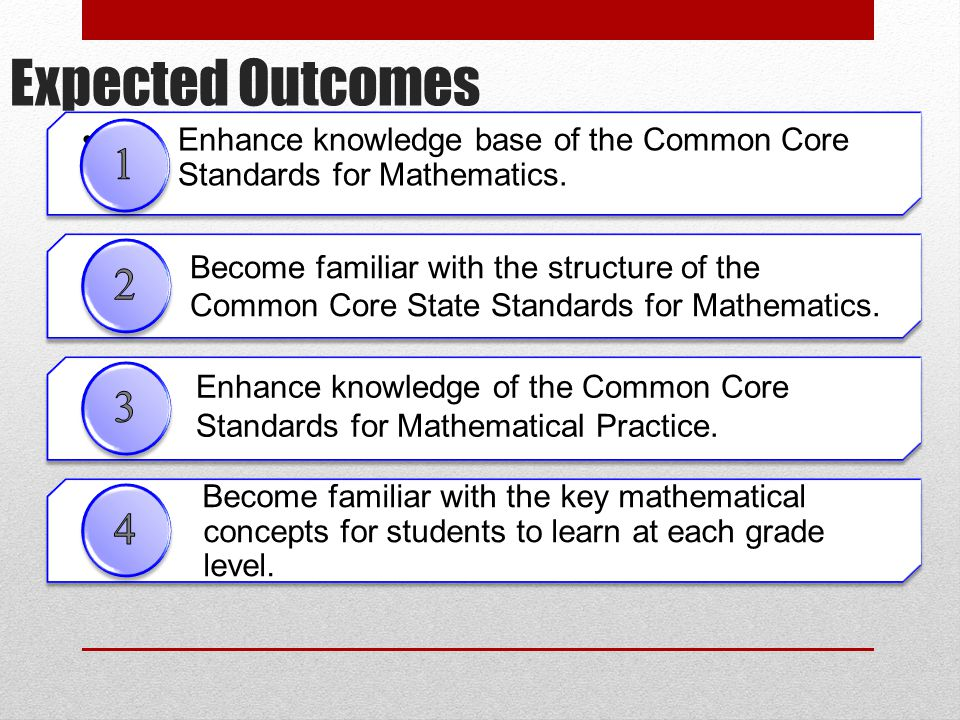 Expected Outcomes Become familiar with the structure of the Common Core State Standards for Mathematics.