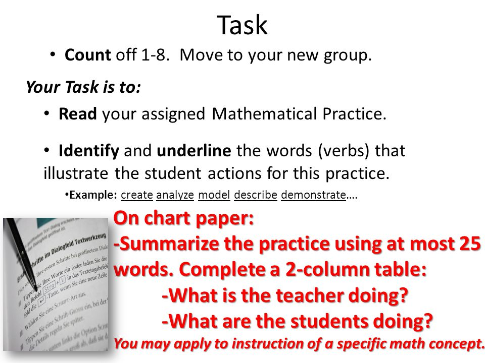 Task Count off 1-8. Move to your new group.