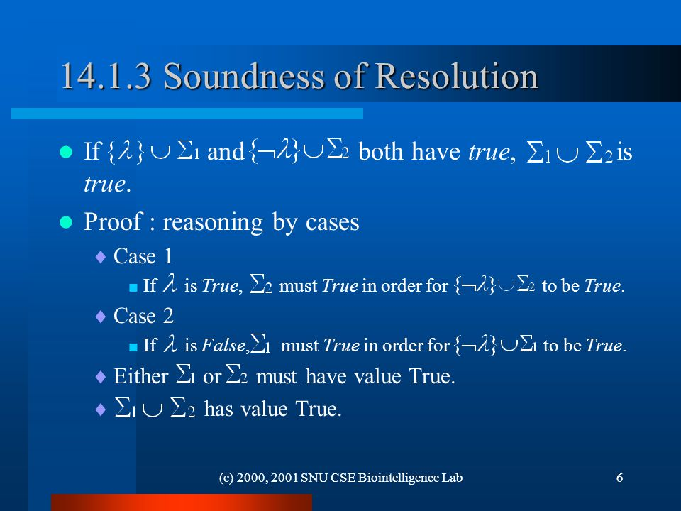 (c) 2000, 2001 SNU CSE Biointelligence Lab Soundness of Resolution If and both have true, is true.