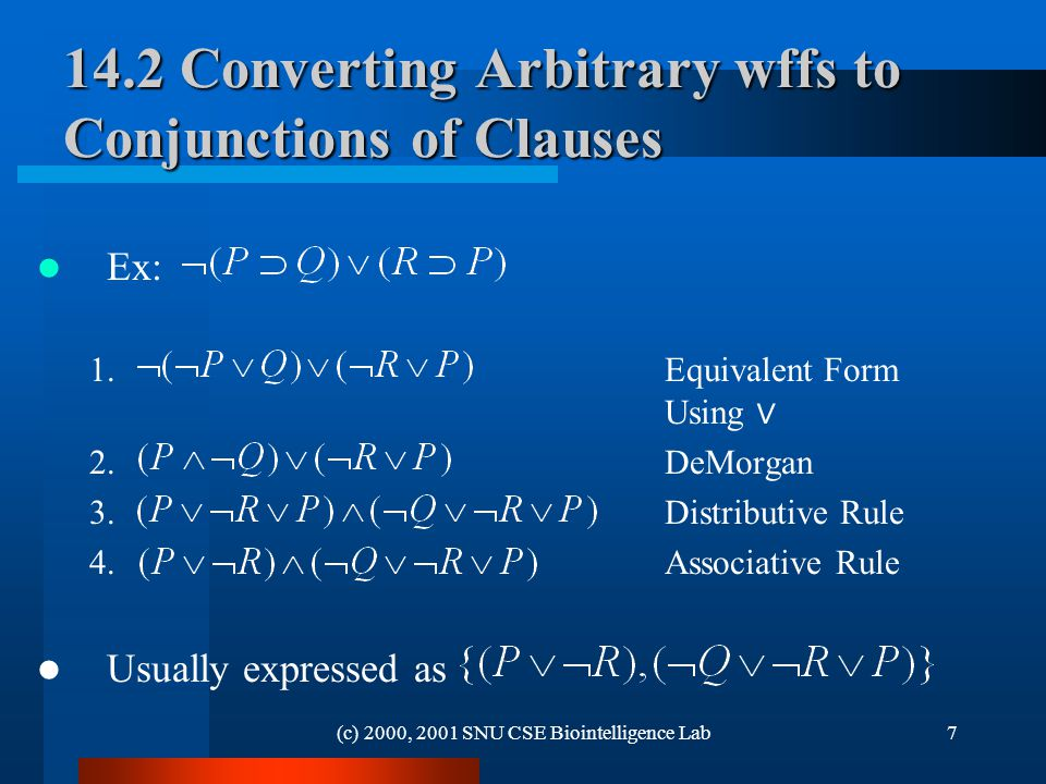 (c) 2000, 2001 SNU CSE Biointelligence Lab Converting Arbitrary wffs to Conjunctions of Clauses Ex: 1.Equivalent Form Using ∨ 2.DeMorgan 3.Distributive Rule 4.Associative Rule Usually expressed as