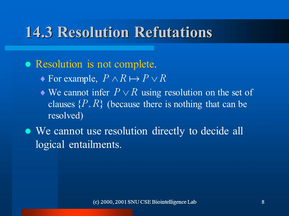 (c) 2000, 2001 SNU CSE Biointelligence Lab Resolution Refutations Resolution is not complete.