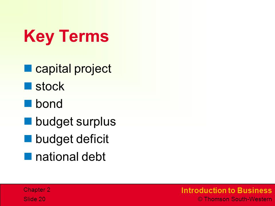 Introduction to Business © Thomson South-Western Chapter 2 Slide 20 Key Terms capital project stock bond budget surplus budget deficit national debt