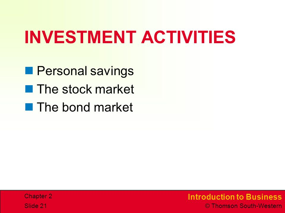 Introduction to Business © Thomson South-Western Chapter 2 Slide 21 INVESTMENT ACTIVITIES Personal savings The stock market The bond market