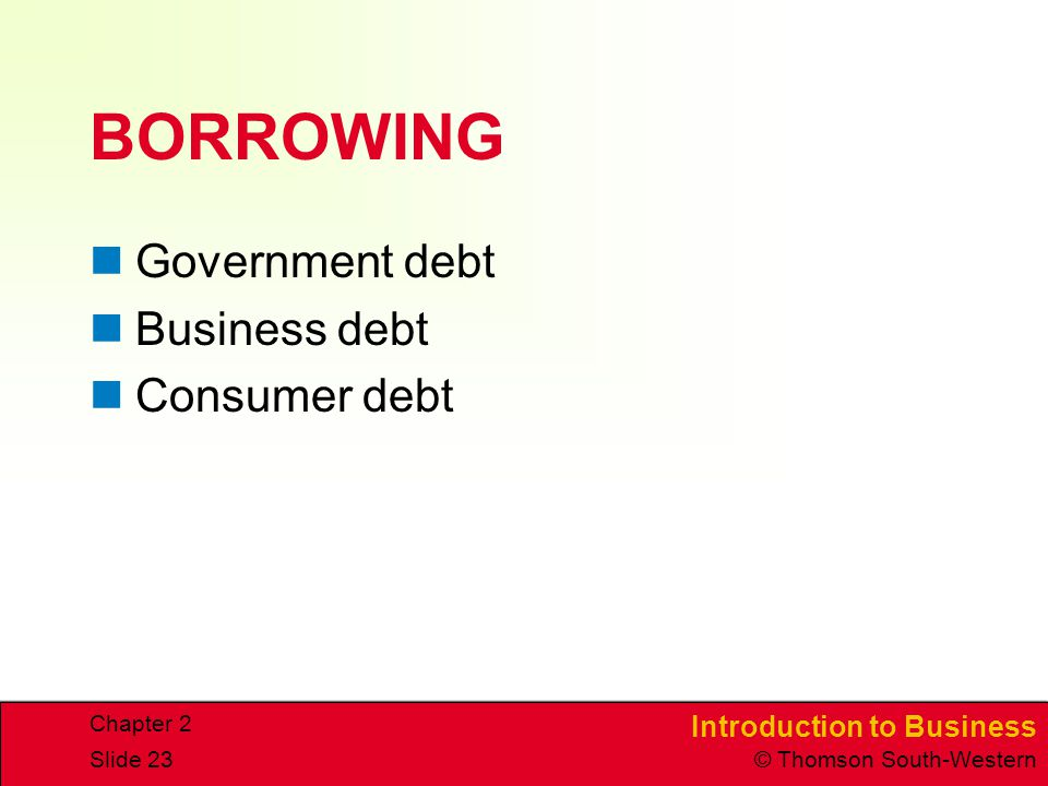 Introduction to Business © Thomson South-Western Chapter 2 Slide 23 BORROWING Government debt Business debt Consumer debt