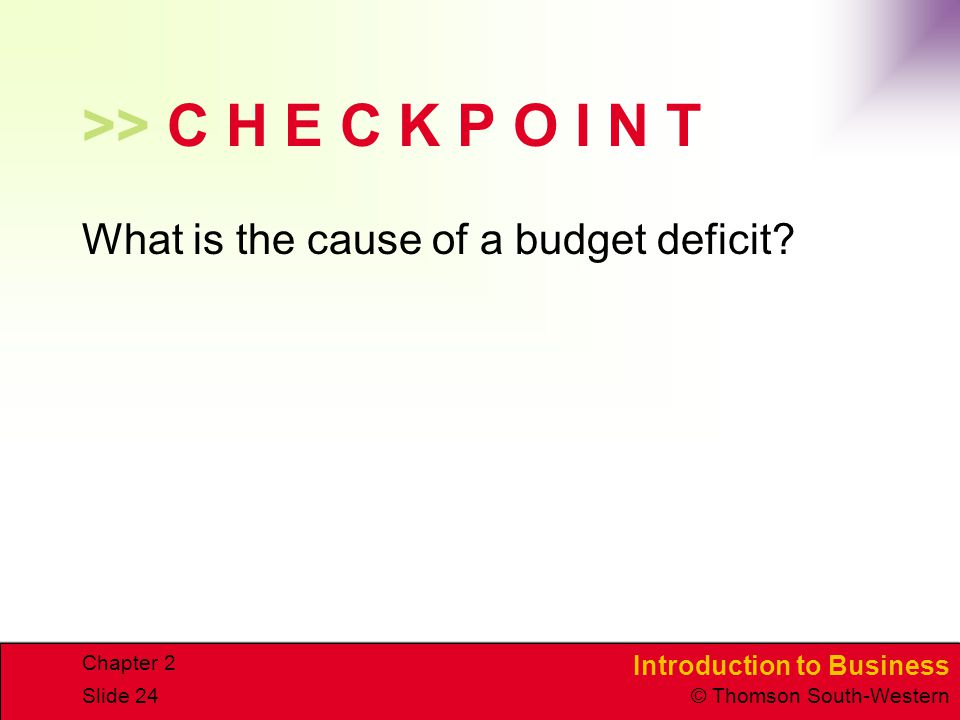 Introduction to Business © Thomson South-Western Chapter 2 Slide 24 >> C H E C K P O I N T What is the cause of a budget deficit