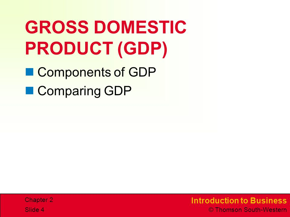 Introduction to Business © Thomson South-Western Chapter 2 Slide 4 GROSS DOMESTIC PRODUCT (GDP) Components of GDP Comparing GDP
