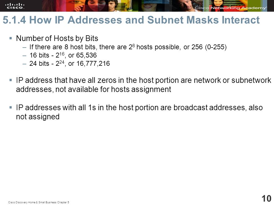 Cisco Discovery Home & Small Business Chapter How IP Addresses and Subnet Masks Interact  Number of Hosts by Bits –If there are 8 host bits, there are 2 8 hosts possible, or 256 (0-255) –16 bits , or 65,536 –24 bits , or 16,777,216  IP address that have all zeros in the host portion are network or subnetwork addresses, not available for hosts assignment  IP addresses with all 1s in the host portion are broadcast addresses, also not assigned