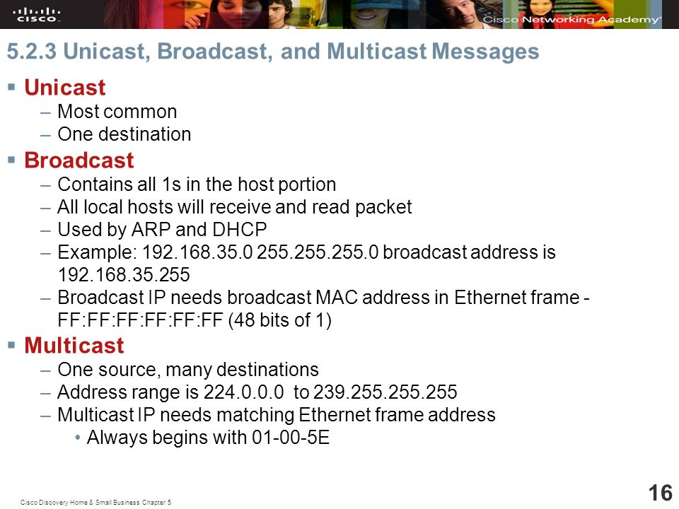 Cisco Discovery Home & Small Business Chapter Unicast, Broadcast, and Multicast Messages  Unicast –Most common –One destination  Broadcast –Contains all 1s in the host portion –All local hosts will receive and read packet –Used by ARP and DHCP –Example: broadcast address is –Broadcast IP needs broadcast MAC address in Ethernet frame - FF:FF:FF:FF:FF:FF (48 bits of 1)  Multicast –One source, many destinations –Address range is to –Multicast IP needs matching Ethernet frame address Always begins with E