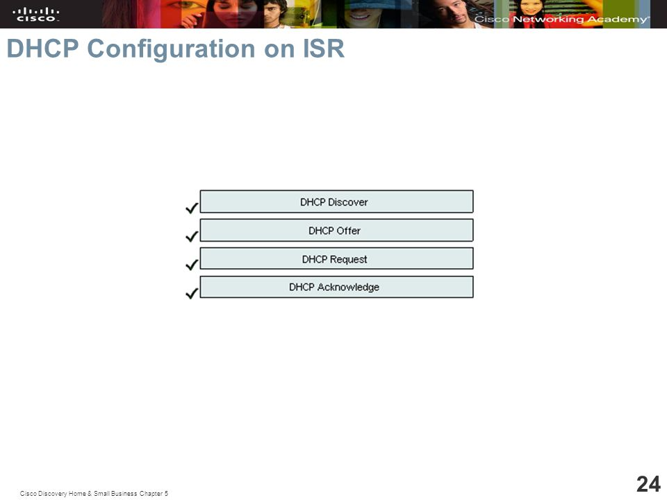 Cisco Discovery Home & Small Business Chapter 5 24 DHCP Configuration on ISR