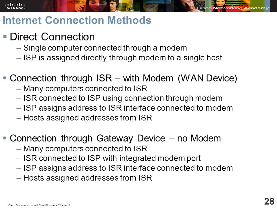 Cisco Discovery Home & Small Business Chapter 5 28 Internet Connection Methods  Direct Connection –Single computer connected through a modem –ISP is assigned directly through modem to a single host  Connection through ISR – with Modem (WAN Device) –Many computers connected to ISR –ISR connected to ISP using connection through modem –ISP assigns address to ISR interface connected to modem –Hosts assigned addresses from ISR  Connection through Gateway Device – no Modem –Many computers connected to ISR –ISR connected to ISP with integrated modem port –ISP assigns address to ISR interface connected to modem –Hosts assigned addresses from ISR